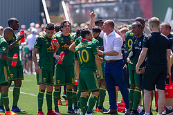 May 13, 2018 - Portland, OR, U.S. - PORTLAND, OR - MAY 13: Portland Timbers head coach Giovanni Savarese gives instructions to his team on a water break during the Portland Timbers 1-0 victory over the Seattle Sounders on May 13, 2018, at Providence Park in Portland, OR. (Photo by Diego Diaz/Icon Sportswire) (Credit Image: © Diego Diaz/Icon SMI via ZUMA Press)