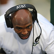 South Florida Bulls head coach Charlie Strong talks to his players on the sidelineduring a NCAA football game between the University of South Florida Bulls and the UCF Knights at Spectrum Stadium on Friday, November 24, 2017 in Orlando, Florida. (Alex Menendez via AP)