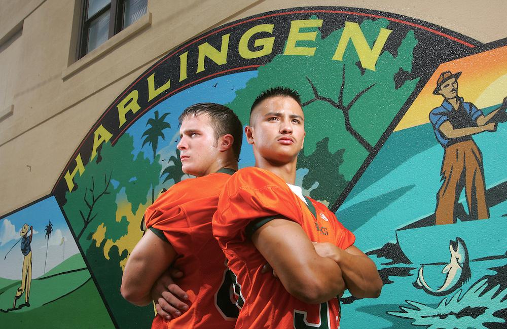 Photo by Alex Jones..Harlingen South Hawks: #80 Kody Degges, linebacker (left) and #35 Cruz Bazan, right.  Shot at the Jackson St. historic district in downtown Harlingen.