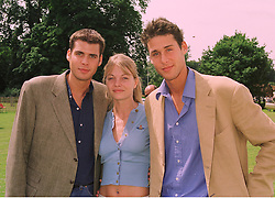 Left to right, MR ANTHONY DE ROTHSCHILD, MISS JEMMA KIDD and MR DAVID DE ROTHSCHILD, at a polo match in Sussex on 19th July 1998.MJD 59