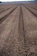 Deep soil furrows ploughed field Sutton Heath, Suffolk