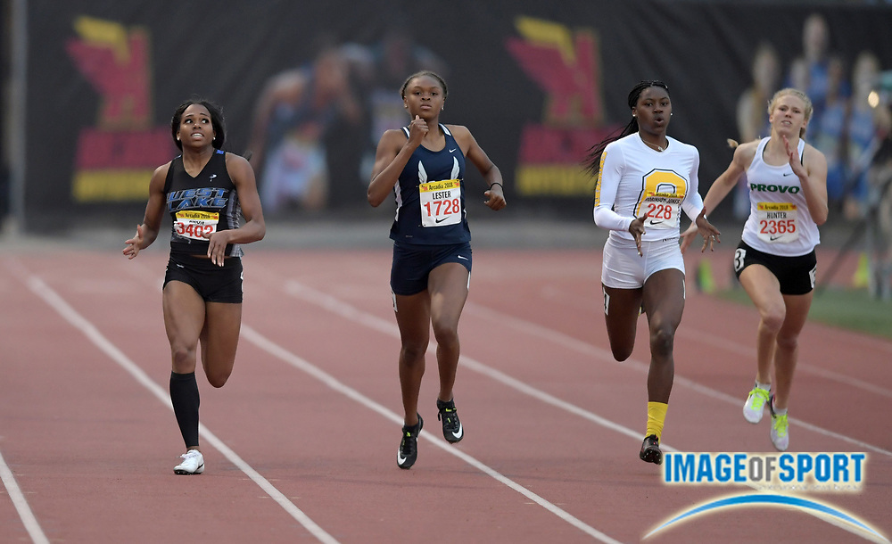 Apr 7, 2018; Arcadia, CA, USA; Sterling Lester (1728) of Marietta (GA) wins the girls invitational 400m in 53.37 during the 51st Arcadia Invitational at Arcadia High. From left: <br /> Kennedy Simon (3402) of Westlake (GA), Lester, and Meghan Hunter (2365) of Provo (UT).