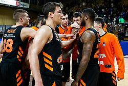Edo Muric and other players of Cedevita celebrate after winning during basketball match between KK Petrol Olimpija and KK Cedevita in 21st Round of ABA League 2018/19, on March 10, 2019, in Hala Tivoli, Ljubljana, Slovenia. Photo by Vid Ponikvar / Sportida