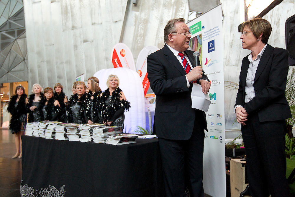 Federation Square, Melboure, 18th August 2010:  Peter Hitchener and Minister for Senior Victorians Lisa Neville MP at the launch of the 2010 Seniors Festival Program at Federation Square..Photo: Joseph Feil
