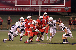 02 September 2017:   Markel Smith carries the ball while surrounded by his blockers and the defense during the Butler Bulldogs at  Illinois State Redbirds Football game at Hancock Stadium in Normal IL (Photo by Alan Look)