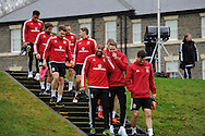Wales players arrive for the Wales football team training at Hensol Castle, Vale of Glamorgan, South Wales on Tuesday 10th November 2015. the team are training ahead of their friendly against the Netherlands on Friday,<br /> pic by  Andrew Orchard, Andrew Orchard sports photography.
