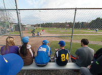 Baseball fans came out to cheer on the Irwin Zone and Fratellos Minor League teams for the first opening day game at Francouer Field Saturday evening.  (Karen Bobotas/for the Laconia Daily Sun)