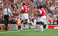 Photo: Steve Bond.<br />Arsenal v Derby County. The FA Barclays Premiership. 22/09/2007. Abou Diaby heads for the bench to celebrate