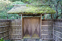 Thatched Gate at Tokaiji Temple  - Tokaiji Temple once served as a refuge for abused women in Kamakura.  By staying at Tokeiji Temple for three years, women could attain a divorce. It is called the Divorce Temple because of this history.  Its full name is Shokozan Tokei-ji and is also called Kakekomi-dera.  Tokeiji is a sub-temple of the Engakuji - a Rinzai Zen Buddhism founded 9in 1285 by Kakusan-ni who was the wife of Hojo Tokimuni.  Tokimuni died at a young age so his wife developed Tokeiji as a nunnery.   The temple remained a nunnery for over 600 years.  Men were not allowed to enter until 1902, when a male abbot took over Tokei-ji under auspices of Engakuji.