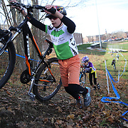 Young competitors in action as they climb a hill in the CCAP High School and Juniors race during the The 3rd Annual Newtown Cyclocross Race in the Fairfield Hills and the Town's Municipal Center. Newtown, Connecticut, USA. 15th November 2015. Photo Tim Clayton