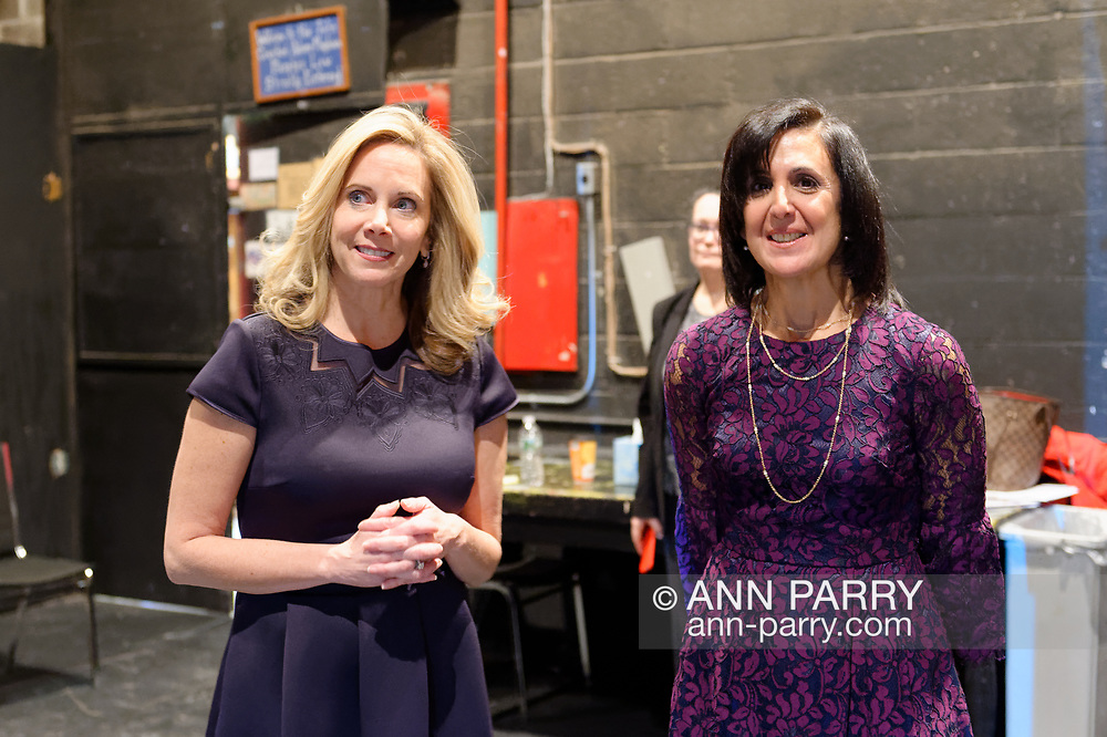 Hempstead, New York, USA. January 1, 2018. L-R, LAURA GILLEN and SYLVIA CABANA are just about to go on-stage to Swearing-In of Gillen  as Hempstead Town Supervisor, and Cabana as Hempstead Town Clerk, at John Crawford Adams Playhouse at Hofstra University. It was first time a Democrat became Town of Hempstead Supervisor in over a century.