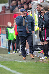 Arbroath's manager Dick Campbell near the end. Brechin City 1 v 1 Arbroath, Scottish Football League Division One played 13/4/2019 at Brechin City's home ground Glebe Park. Arbroath win promotion.