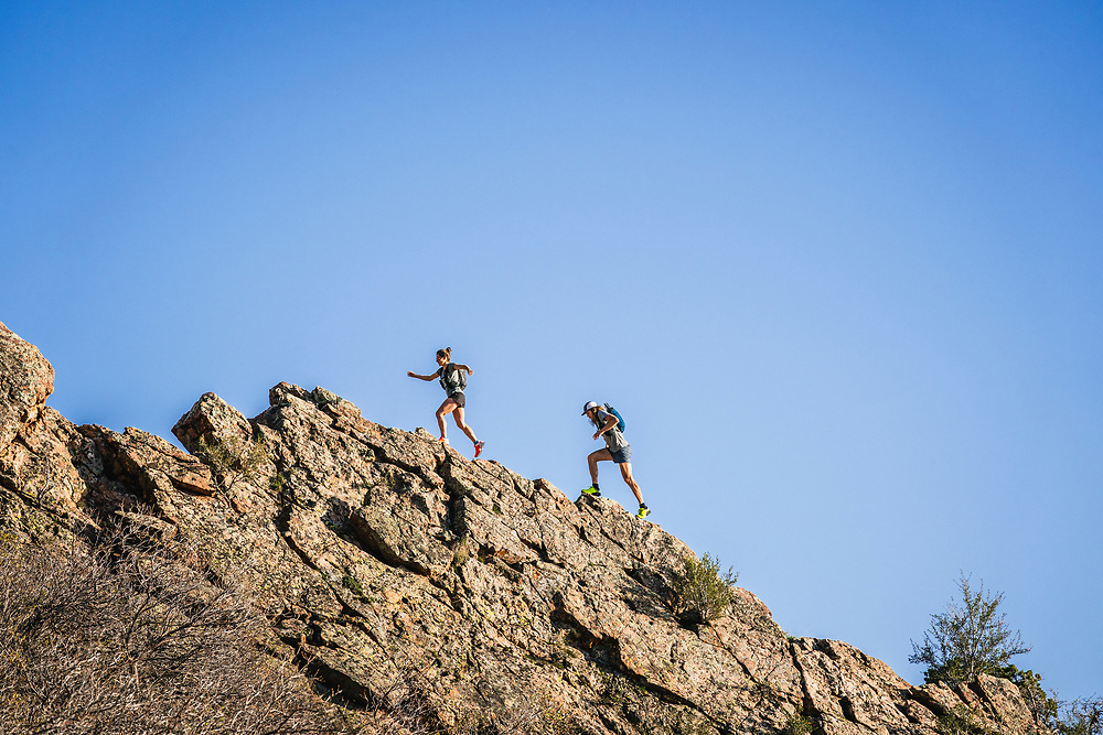 Hillary Gerardi and Joe Grant playing on Mount Olympus, Wasatch Range, Utah.