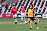 Newport County's Liam Shephard (32) in action during the EFL Sky Bet League 2 match between Newport County and Salford City at Rodney Parade, Newport, Wales on 16 January 2021.