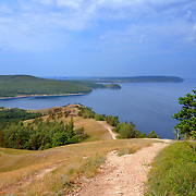 "Beautiful scenery of Volga river in Russian National park ""Samara Luka"". Near the Volga hydroelectric station and dam"