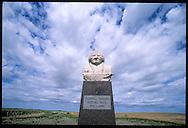 Statue of Lakota leader Sitting Bull presides over site where he was killed in 1890; Lake Oahe on Missouri River at Mobridge, South Dakota