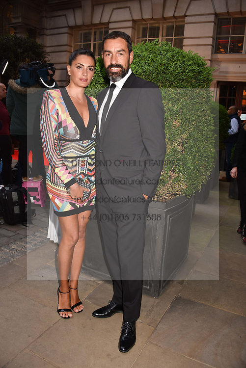 Robert Pires and Jessica Lemarie at the Nelson Mandela Foundation Gala Dinner, Rosewood, London England. 24 April 2018.
