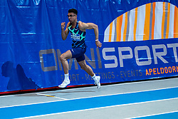 Onyema Adigida in action on the 200 meter final during AA Drink Dutch Athletics Championship Indoor on 21 February 2021 in Apeldoorn.