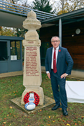 10 November 2018. Rugby Club Compiègne. Compèigne, Somme, France.<br /> Tournio Rugby de l'Armistice.<br /> A rugby tournament in the heart of the Somme region in honour of those who perished in the Great War100 years ago.<br /> <br /> Daily Mirror reporter Andy Lines at the memorial honouring members of the Rugby Club Compiègne who perished in the Great War.<br /> <br /> Photo©; Charlie Varley/varleypix.com