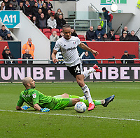 Bristol City's Niki Maenpaa (left) fails to stop Fulham's Bobby Decordova-Reid (right) scores his side's second goal  - but the goal is disallowed<br /> <br /> Photographer David Horton/CameraSport<br /> <br /> The EFL Sky Bet Championship - Bristol City v Fulham - Saturday 7th March 2020 - Ashton Gate Stadium - Bristol<br /> <br /> World Copyright © 2020 CameraSport. All rights reserved. 43 Linden Ave. Countesthorpe. Leicester. England. LE8 5PG - Tel: +44 (0) 116 277 4147 - admin@camerasport.com - www.camerasport.com