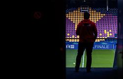 05.04.2017, Red Bull Arena, Salzburg, AUT, OeFB Samsung Cup, FC Red Bull Salzburg vs KSV 1919, Viertelfinale, im Bild ein Mitarbeiter von Red Bull Salzburg vor dem Logo der Tribünensitze // during the OeFB Samsung Cup quarterfinal match between FC Red Bull Salzburg and KSV 1919 at the Red Bull Arena in Salzburg, Austria on 2017/04/05. EXPA Pictures © 2017, PhotoCredit: EXPA/ JFK
