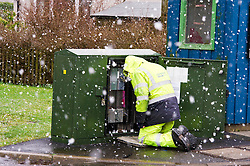 Pictured: Algie Ferson from Openreach makes sure everybody stays connected<br /> <br /> Poor weather conditions are taken in their stride by animals and workers on the A701 between Broughton and Moffat. <br /> <br /> Ger Harley | EEm 23 February 2017