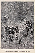 The next moment he was overpowered from the book ' Mistress Branican ' by Jules Verne, illustrated by Leon Benett. The story begins in the United States, where the heroine, Mistress Branican, suffers a mental breakdown after the death by drowning of her young son. On recovering, she learns that her husband, Captain Branican, has been reported lost at sea. Having acquired a fortune, she is able to launch an expedition to search for her husband, who she is convinced is still alive. She leads the expedition herself and trail leads her into the Australian hinterland. Mistress Branican (French: Mistress Branican, 1891) is an adventure novel written by Jules Verne and based on Colonel Peter Egerton Warburton and Ernest Giles accounts of their journeys across the Western Australian deserts, and inspired by the search launched by Lady Franklin when her husband Sir John Franklin was reported lost in the Northwest Passage. Translated by A. Estoclet, Published in New York, Cassell Pub. Co. 1891.