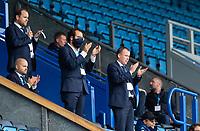 Leeds United director of football Victor Orta and chief executive Angus Kinnear applauds the team<br /> <br /> Photographer Alex Dodd/CameraSport<br /> <br /> The EFL Sky Bet Championship - Blackburn Rovers v Leeds United - Saturday 4th July 2020 - Ewood Park - Blackburn<br /> <br /> World Copyright © 2020 CameraSport. All rights reserved. 43 Linden Ave. Countesthorpe. Leicester. England. LE8 5PG - Tel: +44 (0) 116 277 4147 - admin@camerasport.com - www.camerasport.com