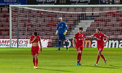 WREXHAM, WALES - Thursday, September 17, 2020: Connah's Quay Nomads look dejected after conceding an injury time penalty during the UEFA Europa League Second Qualifying Round match between Connah's Quay Nomads FC and FC Dinamo Tbilisi at the Racecourse Ground. Dinamo Tiblisi won 1-0. (Pic by David Rawcliffe/Propaganda)