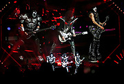 Gene Simmons, left, Tommy Thayer, center, and Paul Stanley of the rock band KISS perform during their concert at Bridgestone Arena Tuesday, April 9, 2019, in Nashville, TN.
