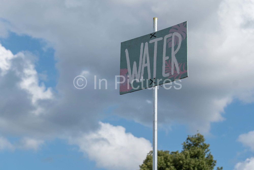 A water sign at Latitude Festival on the 20th July 2019 in Southwold in the United Kingdom.