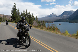 Bill Page riding his 1915 Harley-Davidson Model J into Glacier National Park on the Motorcycle Cannonball coast to coast vintage run. Stage 12 (242 miles) from Great Falls to Kalispell, MT. Thursday September 20, 2018. Photography ©2018 Michael Lichter.