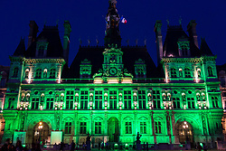 June 1, 2017 - Paris, France - The Paris city hall on 1 June, 2017 is lightened in green « to mark the disapprobation » of the french capital and its socialist mayor Anne Hidalgo against the decision of president Donald Trump to withdraw from the new climate agreement made in Paris last year. (Credit Image: © Emeric Fohlen/NurPhoto via ZUMA Press)