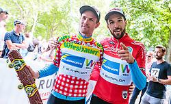 03.07.2017, Wien, AUT, Ö-Tour, Österreich Radrundfahrt 2017, 1. Etappe von Graz nach Wien (193,9 km), Siegerehrung, im Bild Stephan Rabitsch (AUT, Team Felbermayr Simplon Wels), Markus Eibegger (AUT, Team Felbermayr Simplon Wels) // Stephan Rabitsch of Austria (Team Felbermayr Simplon Wels) Markus Eibegger of Austria (Team Felbermayr Simplon Wels) during winner ceremony for the 1st stage from Graz to Vienna (193,9 km) of 2017 Tour of Austria. Wien, Austria on 2017/07/03. EXPA Pictures © 2017, PhotoCredit: EXPA/ JFK