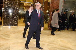 Vice President Elect Mike Pence is seen leaving Trump Tower in New York, NY, on November 28, 2016. (Anthony Behar / Pool)