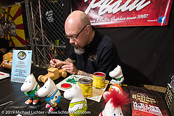 Marco Planting  of Platu pin-striping painting at the Annual Mooneyes Yokohama Hot Rod and Custom Show. Japan. Sunday, December 7, 2014. Photograph ©2014 Michael Lichter.