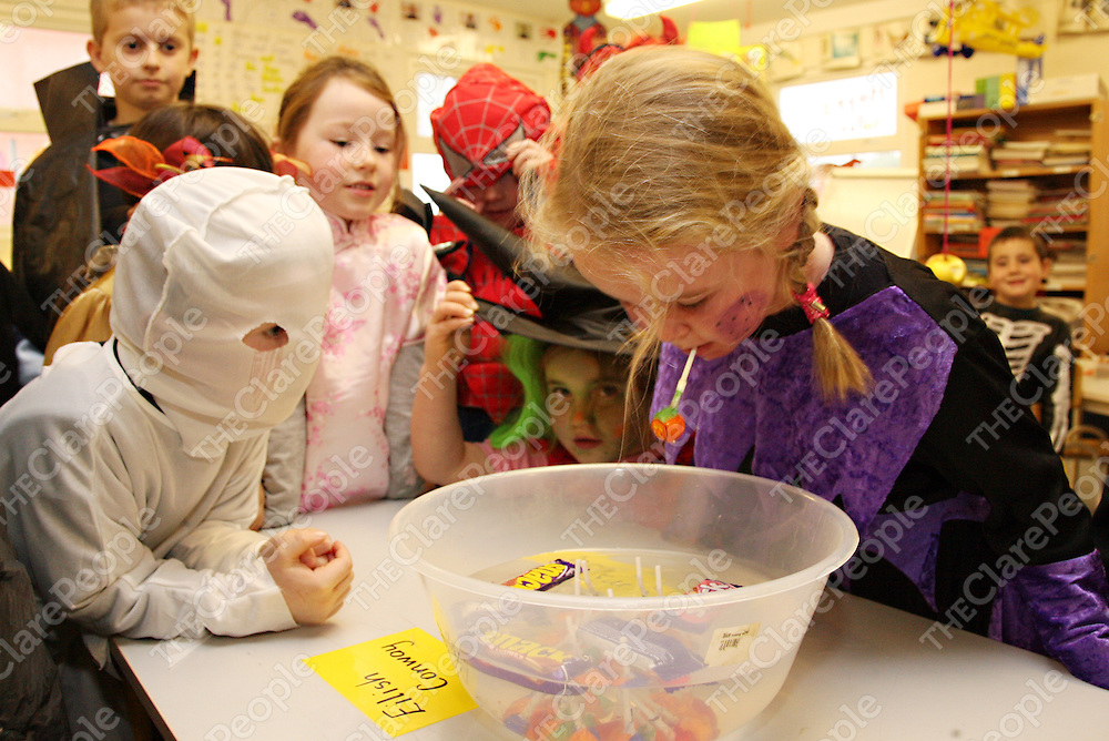 Amy Sexton dives in as part of the Halloween fun in Mullagh N.S on Friday.<br /><br />Photograph by Yvonne Vaughan.