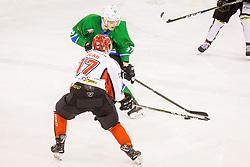 Ulamec Luka of HK SZ Olimpija during Hockey match between SZ HD Olimpija and HDD Jesenice in 4tht match of Quarterfinals of Alps Hockey League, on March 13, 2018 in Hala Tivoli, Ljubljana, Slovenia. Photo by Ziga Zupan / Sportida