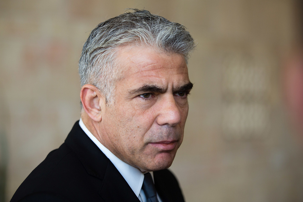 Head of the Yesh Atid party, Israeli lawmaker Yair Lapid at the Knesset, Israel's parliament in Jerusalem, on March 15, 2016.