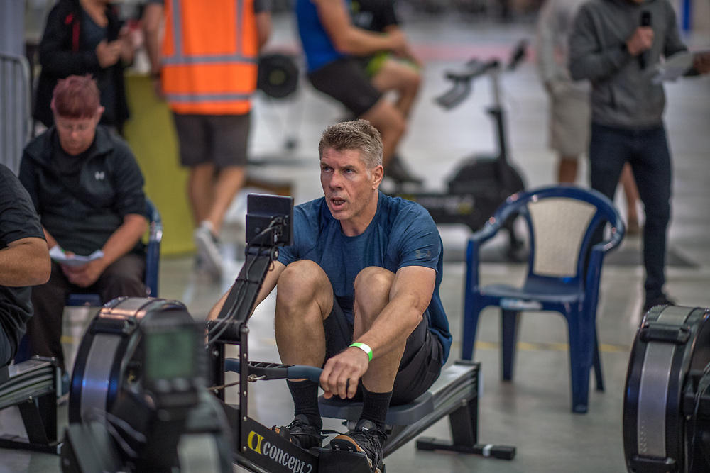 Andrew Mahon MALE HEAVYWEIGHT Masters D 2K Race #2  08:45am<br /> <br /> www.rowingcelebration.com Competing on Concept 2 ergometers at the 2018 NZ Indoor Rowing Championships. Avanti Drome, Cambridge,  Saturday 24 November 2018 © Copyright photo Steve McArthur / @RowingCelebration