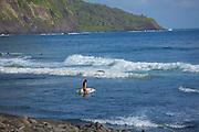 Surfing, Waipio Valley, Hamakua Coast, Island of Hawaii