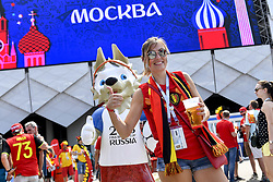 June 23, 2018 - Moscow, RUSSIA - Illustration shows Belgium's supporter outside the stadium ahead of the second game of Belgian national soccer team the Red Devils against Tunisia national team in the Spartak stadium, in Moscow, Russia, Saturday 23 June 2018. Belgium won its first group phase game. BELGA PHOTO DIRK WAEM (Credit Image: © Dirk Waem/Belga via ZUMA Press)