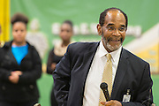 John Modest, Jr. comments during a beam signing ceremony at Worthing High School, December 11, 2014.