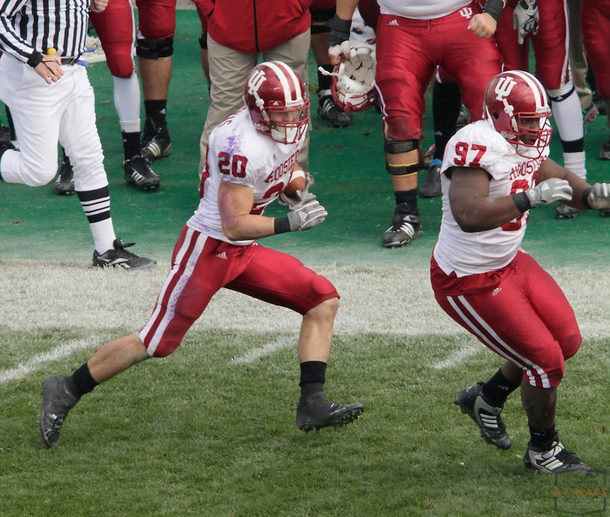 24 October 2009: Indiana safety Austin Thomas (20) as the Northwestern Wildcats played the Indiana Hoosiers in a college football game in Evanston, Ill.