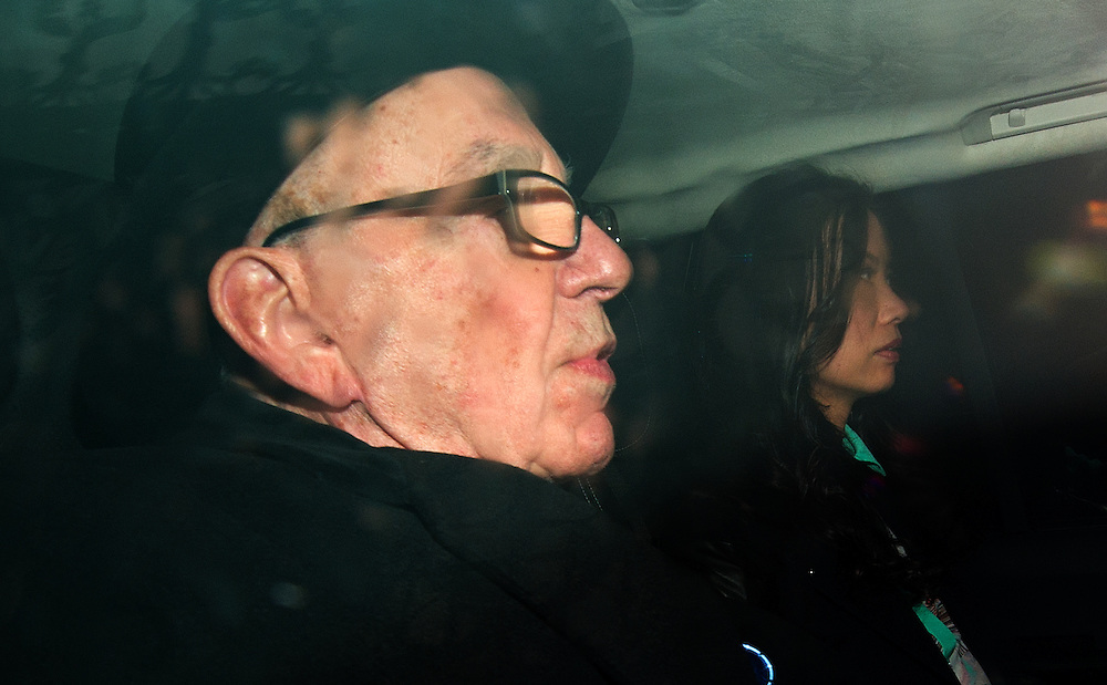 Rupert Murdoch'with wife Wendi Deng leaving The High Court  in central London  after  giving evidence today at The Leveson Inquiry on April 25th 2012...Photo Ki Price.