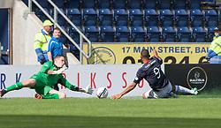 Morton's keeper Derek Gaston saves from Falkirk's Phil Roberts.<br /> half time : Falkirk 2 v 0 Morton, Scottish Championship 17/8/2013.<br /> ©Michael Schofield.