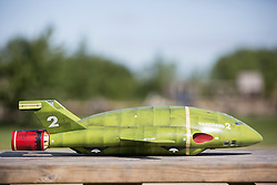 © Licensed to London News Pictures. 09/07/2015. York, UK. Picture an exact replica of Thunderbird 2 at York Maze. Farmer Tom Percy has carved a giant image of Thunderbird 2 out of an 18 acre field of Maze to celebrate 50 years of Thunderbirds (1965-2015). Jamie Anderson son of Thunderbirds creator Gerry Anderson was at the maze today to help Tom launch this years master piece. Photo credit : Andrew McCaren/LNP