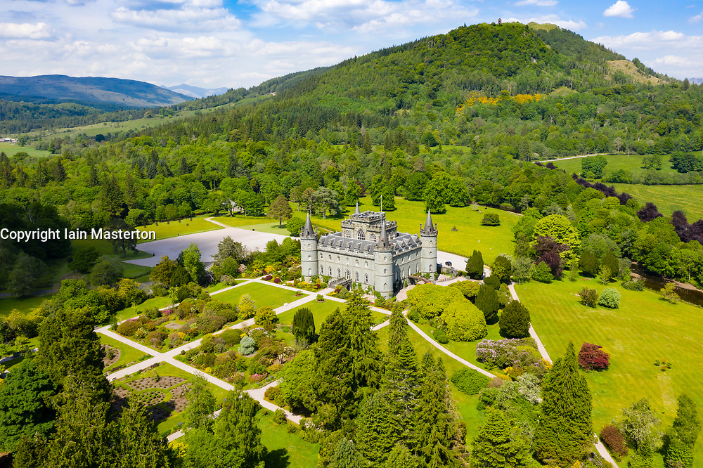 Aerial view of Inveraray Castle in Argyll and Bute, Scotland, UK