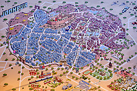 Inde, Rajasthan, Jodhpur la ville bleue, plan de la ville // India, Rajasthan, Jodhpur, the blue city, map of the city