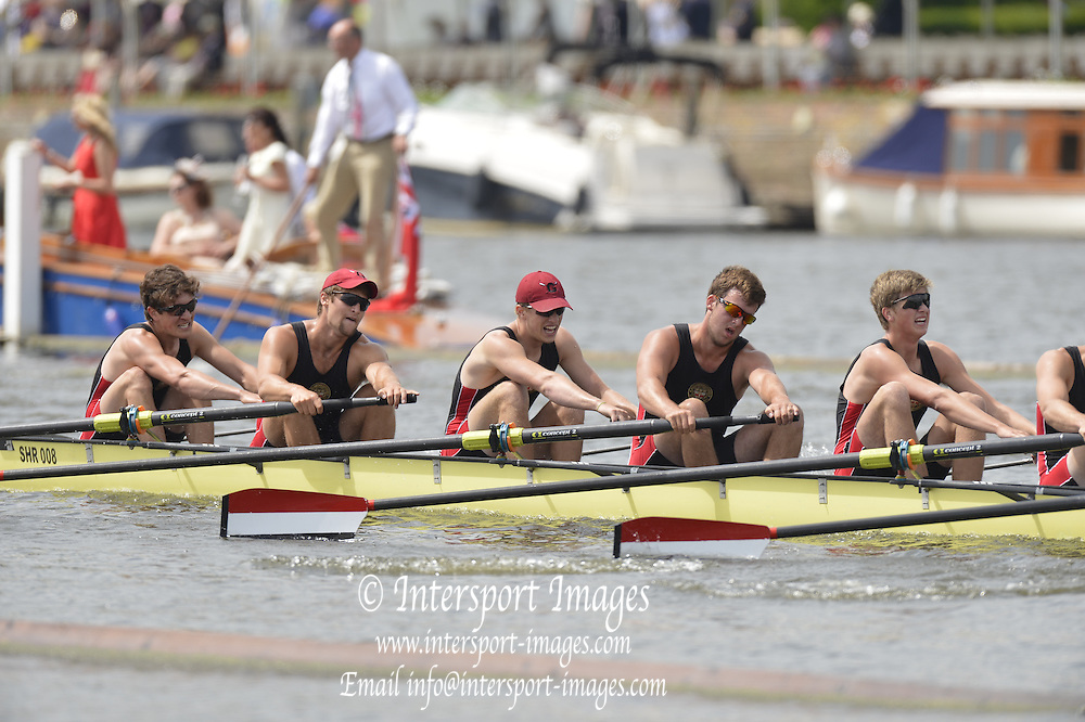 Henley, GREAT BRITAIN, Groton School USA down to Hampton School  at the 1.1/8 mile post. during their Thursday heat of the princess Elizabeth Challenge Cup. 2012 Henley Royal Regatta. ..Thursday  13:10:56  28/06/2012. [Mandatory Credit, Peter Spurrier/Intersport-images]...Rowing Courses, Henley Reach, Henley, ENGLAND . HRR.